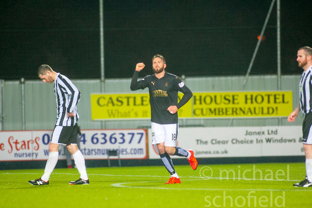 Falkirk's Lee Miller celebrates after scoring their third goal. Falkirk 4 v 1 Fraserburgh, Scottish Cup third round, played 28/11/2015 at The Falkirk Stadium.