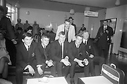 The Irish Rugby touring team waiting at Dublin Airport on Saturday 22nd April, 1967 for an Aerlingus flight to New York, en route to Australia for a 4 week tour,..Irish Rugby Football Union, Irish team departs for Australian tour, 22nd April 1967, 22.4.67, 4.22.67,.