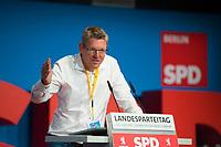 DEU, Deutschland, Germany, Berlin, 02.06.2018: Christian Hoßbach, Vorsitzender DGB Berlin-Brandenburg, beim Landesparteitag der Berliner SPD im Hotel Andels.