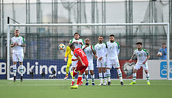 Gibraltar's Liam Walker (centre) takes a free kick during the UEFA Euro 2020 Qualifying, Group D match at the Victoria Stadium, Gibraltar.
