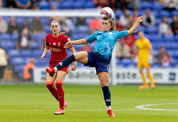 BIRKENHEAD, ENGLAND - Sunday, August 29, 2021: Liverpool's Charlotte Wardlaw (L) and  London City Lionesses' Alli Murphy during the FA Women's Championship game between Liverpool FC Women and London City Lionesses FC at Prenton Park. London City won 1-0. (Pic by Paul Currie/Propaganda)
