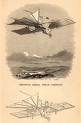 Design by William Henson (1812-1888) and John Stringfellow (1779-1883), inventors from Somerset, England, for the Aerial Steam Carriage.  The webbed tail was 15.24m (50 feet) long, and beneath it was a rudder. The steam engine in the car drove two sets of vanes (objects looking like archery targets) 6.09m (20 feet) in diameter. The weight of the machine was 1,360kg (3,000 lbs).  The plane was never built.  Engraving from'The Magazine of Science' (London, 1844).