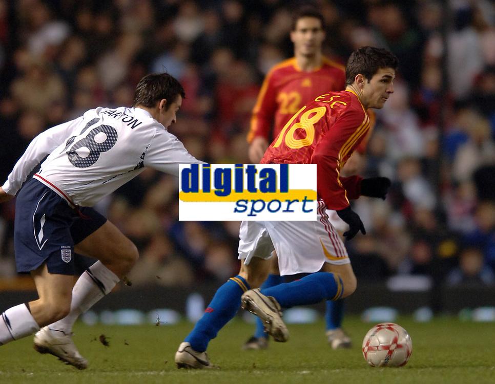 Photo: Paul Greenwood.<br />England v Spain. International Friendly. 07/02/2007. Englands Joey Barton, left, try's to catch Spains Cesc Fabregas