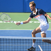 DANIIL MEDVEDEV hits a volley at the Rock Creek Tennis Center.