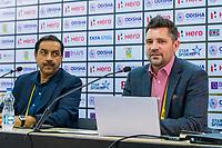 BHUBANESWAR (INDIA) -  Persconferentie Mike Joyce , Hockey Foundation, en Tayyab Ikram, Chief Executive Officer, AHF,     bij het WK Hockey heren.  COPYRIGHT KOEN SUYK