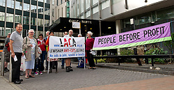 London, UK  11/05/11. Libraries to be staffed by the unemployed. Protesters form Lewisham Anti Cuts Alliance and Lewisham People before Profit picket Lewisham Town Hall ahead of a vote to close libraries, or transfer them to the private sector. The intention is that those libraries that remain open will be staffed by volunteers on unemployment benefit. Please see special instructions for usage rates. Photo credit should read TONY NANDI/LNP