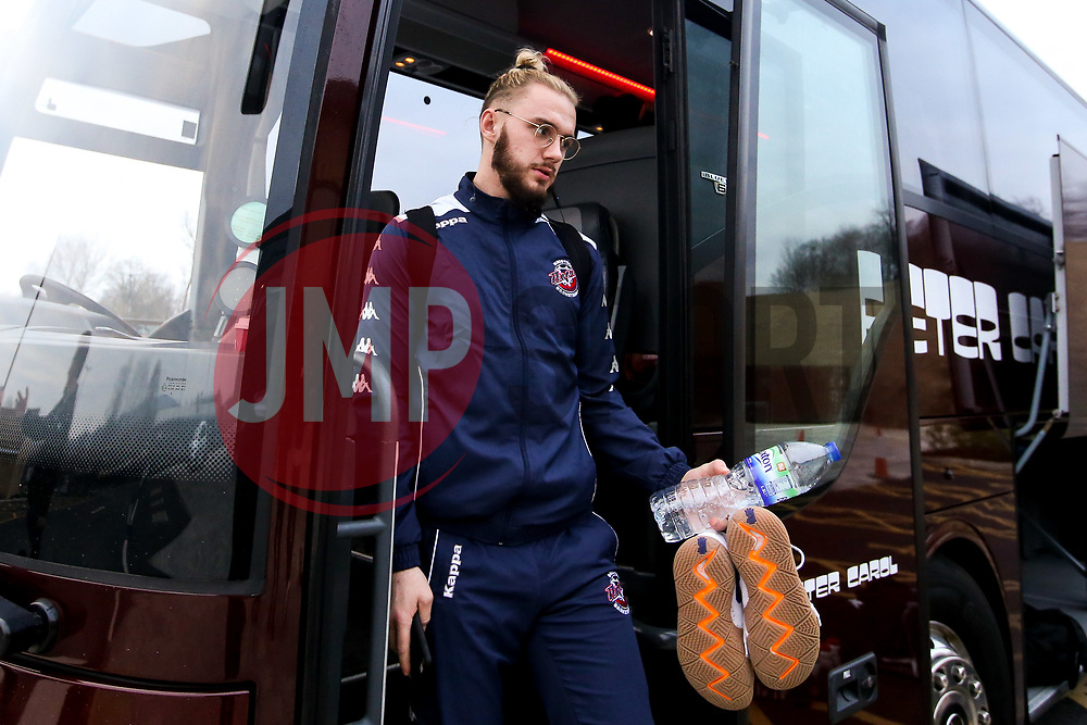 Jordan Nicholls of Bristol Flyers arrives at the Eagles Community Arena, for the BBL fixture against Newcastle Eagles - Photo mandatory by-line: Robbie Stephenson/JMP - 01/03/2019 - BASKETBALL - Eagles Community Arena - Newcastle upon Tyne, England - Newcastle Eagles v Bristol Flyers - British Basketball League Championship