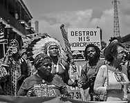 """""""Take Em Down NOLA"""" march to  Jackson Square in French Quarter in New Orleans following a march held in solidarity with Charlottesville, VA."""