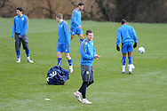 Anthony Gerrard of Cardiff city (cousin of Liverpool player Steven Gerrard) jokes during training ©. the Cardiff city football team training at the Vale, Hensol near Cardiff ahead of their Carling cup final match against Liverpool on Thursday 23rd Feb 2012.  pic by Andrew Orchard, Andrew Orchard sports photography, .