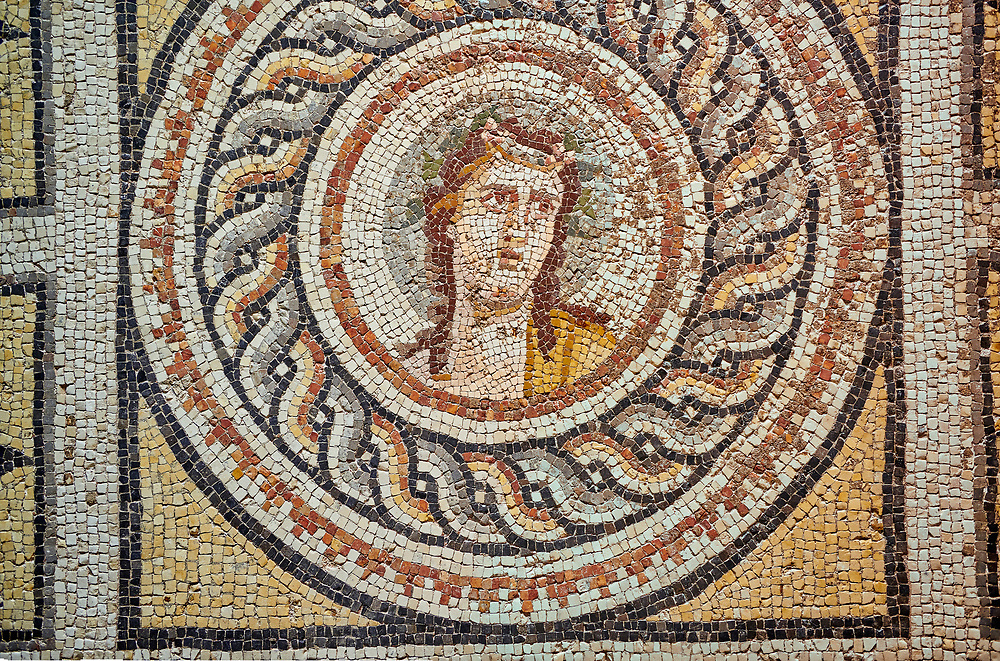 Roman mosaics - Dionysus Portrait Mosaic. Okeanos Villa, Ancient Zeugama, 2nd - 3rd century AD . Zeugma Mosaic Museum, Gaziantep, Turkey. .<br /> <br /> If you prefer to buy from our ALAMY PHOTO LIBRARY  Collection visit : https://www.alamy.com/portfolio/paul-williams-funkystock/roman-mosaic.html - Type -   Zeugma   - into the LOWER SEARCH WITHIN GALLERY box. Refine search by adding background colour, place, museum etc<br /> <br /> Visit our ROMAN MOSAIC PHOTO COLLECTIONS for more photos to download  as wall art prints https://funkystock.photoshelter.com/gallery-collection/Roman-Mosaics-Art-Pictures-Images/C0000LcfNel7FpLI