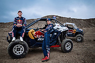 Seth Quintero and Mitch Guthrie Jr. pose for a portrait while they unveil their custom-built SXS course TexPlex in Dallas, Texas, USA on 29 August, 2021.