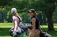 Cydney Clanton and Kim Kaufman walk towards the green during Saturday's round of the Symetra LPGA Tour at Beaver Meadow Golf Course.  (Karen Bobotas/for the Concord Monitor)