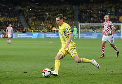 October 9, 2017 - Kiev, Ukraine - Denys Garmash of Ukraine controls the ball during the FIFA 2018 World Cup Group I Qualifier between Ukraine and Croatia at Kiev Olympic Stadium on October 9, 2017 in Kiev, Ukraine. Ukraine fail to reach the play-offs as they lose 2-0. (Credit Image: © Sergii Kharchenko/NurPhoto via ZUMA Press)