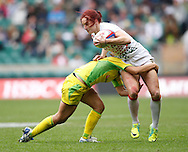Photo by Andrew Tobin/Tobinators Ltd. Joanne Whatmore of England in action from the IRB London Rugby 7s tournament held at Twickenham Stadium, London on 12th May 2013. New Zealand won the tournament beating Australia in the final, and also won the overall 2012/13 series.