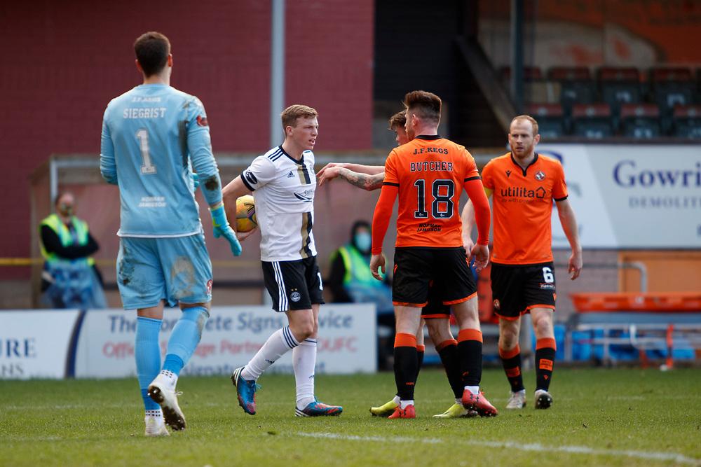 DUNDEE, SCOTLAND, MARCH 20, 2020:  Dundee Utd V Aberdeen FC Ladbrokes SPFL Premiership fixture at Tannadice Park, Dundee.<br /> <br /> Pictured: Jamie Robson (Dundee Utd Defender) pushes Lewis Ferguson (Aberdeen FC Midfielder)<br /> <br /> <br /> (Photo: Newsline Media)