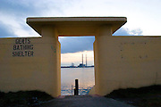 A view of the ESB Poolbeg Power station at Ringsend from the Bull Wall from the old bathing area on Bull Island...