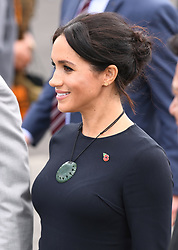 Prince Harry Duke of Sussex, Meghan Duchess of Sussex visit Te Papaiouru Marae, for a formal powhiri and luncheon in their honour, Te Papaiouru, Ohinemutu. On day four of the royal couple's tour of New Zealand. Photo credit should read: Doug Peters/EMPICS