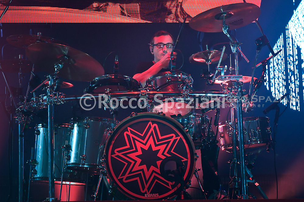 Subsonica Performs In Rome<br /> ROME, ITALY - FEBRUARY 21: Enrico Matta of and his group Subsonica performs on stage at Palalottomatica on February 21, 2019 in Rome, Italy.