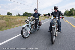 Thomas Trapp (R) of Germany rides his 1914 Harley-Davidson Model 10E beside his 28 year old son Eric on his 1916 Harley-Davidson Model 16F for the Motorcycle Cannonball Race of the Century. Stage-1 from Atlantic City, NJ to York, PA. USA. Saturday September 10, 2016.