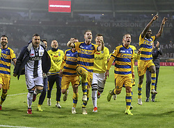 November 10, 2018 - Turin, Piedmont, Italy - Parma players celebrate the victory after the Serie A football match between Torino FC and Parma Calcio 1913 at Olympic Grande Torino Stadium on November 10, 2018 in Turin, Italy..Torino FC lost 1-2 over Parma. (Credit Image: © Massimiliano Ferraro/NurPhoto via ZUMA Press)