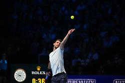 November 17, 2017 - London, England, United Kingdom - Grigor Dimitrov of Bulgaria wins his Singles match against Pablo Carreno Busta of Spain on day six of Nitto ATP World Tour Finals at the O2 Arena. (Credit Image: © Alberto Pezzali/NurPhoto via ZUMA Press)