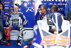 © Licensed to London News Pictures. 19/10/2012. Jorge Lorenzo (SPA) riding for the Yamaha Factory Racing talks to his mechanic during the Qualifying day of the round 16 2013 Tissot Australian Moto GP at the  Phillip Island Grand Prix Circuit Victoria, Australia. Photo credit : Asanka Brendon Ratnayake/LNP