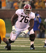 Alabama Crimson Tide offensive linesman D.J. Fluker (76) on the line in first half action. The Alabama Crimson Tide defeated the Missouri Tigers 42-10 at Memorial Stadium in Columbia, Missouri on October 13, 2012.