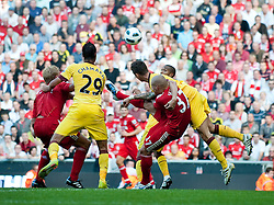 15.08.2010, Anfield, Liverpool, ENG, PL, FC Liverpool vs FC Arsenal, im Bild Liverpool's Martin Skrtel is hauled to the floor by Arsenal's Laurent Koscieiny, yet again the referee refused to see anything wrong with the actions of the Arsenal player, during the Premiership match at Anfield. l. EXPA Pictures © 2010, PhotoCredit: EXPA/ Propaganda/ David Rawcliffe / SPORTIDA PHOTO AGENCY