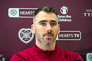 Michael Smith (#2) of Heart of Midlothian FC during the Heart of Midlothian pre-match press conference ahead of the Scottish Premiership match against Motherwell, at Oriam Sports Performance Centre, Riccarton, Scotland on 5 March 2020.