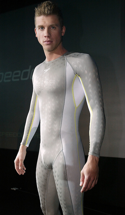 Thomas RUPPRATH of Germany poses in the new Speedo FASTSKIN FSII (FS2) swim suit on Tuesday, March 9, 2004, at the launch party in London. (Photo by Patrick B. Kraemer/MAGICPBK)