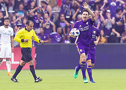 April 8, 2018 - Orlando, FL, U.S. - ORLANDO, FL - APRIL 08: Orlando City midfielder Sacha Kljestan (16) gets the fans fired up after orlando City score a PK goal tying the game at 2 - 2 during the MLS soccer match between the Orlando City FC and the Portland Timbers at Orlando City SC on April 8, 2018 at Orlando City Stadium in Orlando, FL. (Photo by Andrew Bershaw/Icon Sportswire) (Credit Image: © Andrew Bershaw/Icon SMI via ZUMA Press)