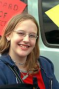 Happy spectator age 17 at the Cinco de Mayo festival.  St Paul Minnesota USA
