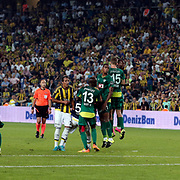 Fenerbahce's and Bursaspor's Josué Pesqueira (M) Dany Nounkeu (R) during their Turkish super league soccer match Fenerbahce between Bursaspor at the Sukru Saracaoglu stadium in Istanbul Turkey on Sunday 20 September 2015. Photo by Aykut AKICI/TURKPIX