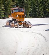 orange Tucker Sno Cat tracked snow vehicle at Mount Tahoma Trails, Ashford, WA, USA