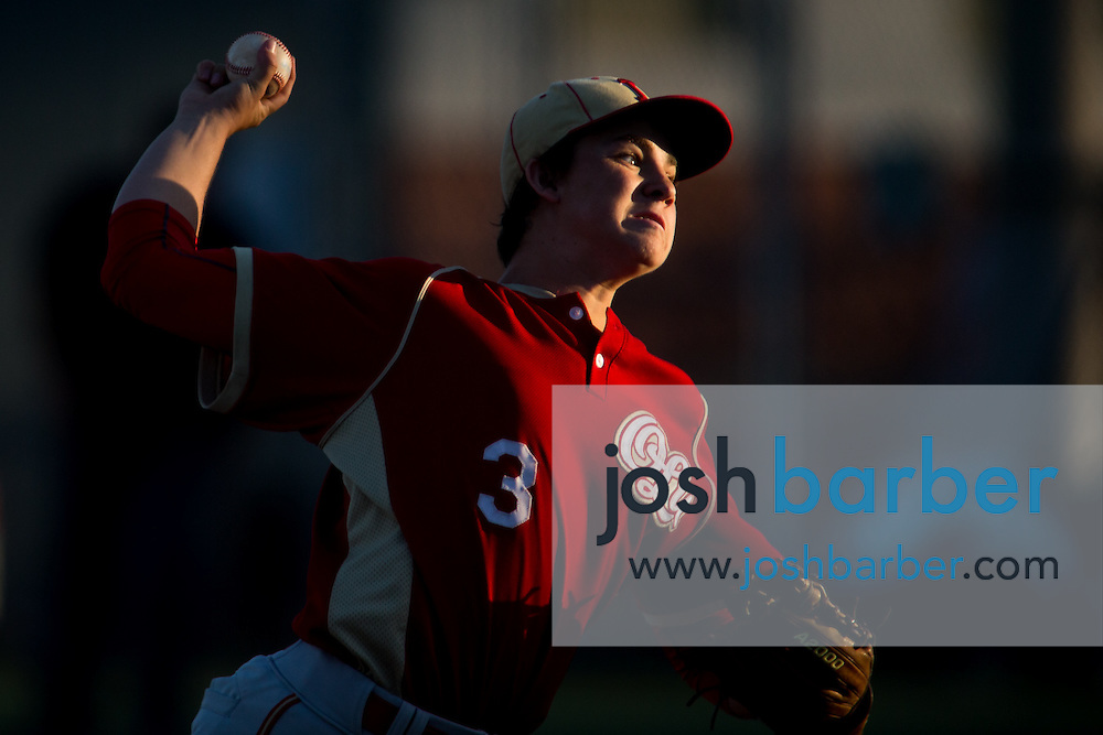 Orange Lutheran's Jacob Castro (3) pitching during a Trinity League game at Mater Dei High School on Friday, May 1, 2015 in Santa Ana, Calif. (Photo/Josh Barber)