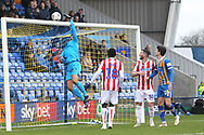 Stoke City goalkeeper Adam Federici (32) tips the ball over the barduring the The FA Cup 3rd round match between Shrewsbury Town and Stoke City at Greenhous Meadow, Shrewsbury, England on 5 January 2019.