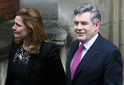 © Licensed to London News Pictures. 11/06/2012. London,Britain.Former Prime Minister Gordon Brown and his wife Sarah Brown leaves at the Leveson Inquiry in the Royal Courts of Justice. Photo credit : Thomas Campean/LNP..