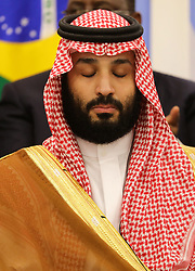 """Saudi Crown Prince Mohammed ben Salmane - Side event organized by the Japanese Prime Minister, on the theme """"Promoting the place of women at work"""" at the Intex Osaka congress center at the G20 summit in Osaka, Japan, on June 29, 2019. Photo by Dominque Jacovides/Pool/ABACAPRESS.COM"""