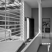 Poissy, France, 2002: First floor, Savoie house (1929) at street of Villers - Le Corbusier arch - .Photographs by Alejandro Sala (Historical archivi AS)