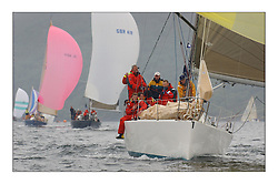Yachting- The last days racing  of the Bell Lawrie Scottish series 2003 at Tarbert Loch Fyne.  Damp grey skies and light winds decided the final results in most fleets...Animula, Duncan Grant's Titan 36 in Class two...Pics Marc Turner / PFM