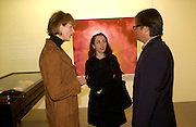 Julia Peyton-Jones, Annabel Friedlein and Paul Ho, Private view of photos of Clowns by Cindy Sherman. Spruth Magers Lee Gallery. Berkeley St. London. 25 November 2004. ONE TIME USE ONLY - DO NOT ARCHIVE  © Copyright Photograph by Dafydd Jones 66 Stockwell Park Rd. London SW9 0DA Tel 020 7733 0108 www.dafjones.com