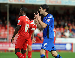 Rochdale's Peter Vincenti celebrates scoring his sides second goal- photo mandatory by-line David Purday JMP- Tel: Mobile 07966 386802 - 06/09/14 - Crawley Town v Rochdale - SPORT - FOOTBALL - Sky Bet Leauge 1 - London - Checkatrade.com Stadium