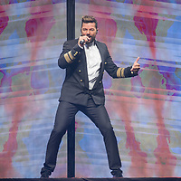 Puerto Rican singer Ricky Martin performs during his concert in Papp Laszlo Sports Arena in Budapest, Hungary on Sept. 4, 2018. ATTILA VOLGYI