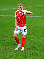 Lewis Freestone of Cheltenham Town gestures - Mandatory by-line: Nizaam Jones/JMP - 20/02/2021 - FOOTBALL - Jonny-Rocks Stadium - Cheltenham, England - Cheltenham Town v Bradford City - Sky Bet League Two