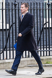 Secretary of State for Health and Social Care Jeremy Hunt arrives at 10 Downing Street in London to attend the weekly meeting of the UK cabinet - London. February 06 2018.