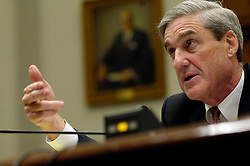 May 17, 2017 - FILE PHOTO - The Justice Department on Wednesday named ROBERT MUELLER as special counsel to oversee the department's investigation into Russian meddling in the 2016 election. Mueller III served as FBI director from 2001 through 2013. Pictured: Jul 26, 2007 - Washington, DC, USA - FBI Director ROBERT MUELLER seen testifying before the House Judiciary Committee during an oversight hearing on the FBI. This is the first time the director has appeared on Capitol Hill in several years. He answered questions on many issues including many questions on the controversial warrantless surveillance program. (Credit Image: © Louie Palu/ZUMA Press)