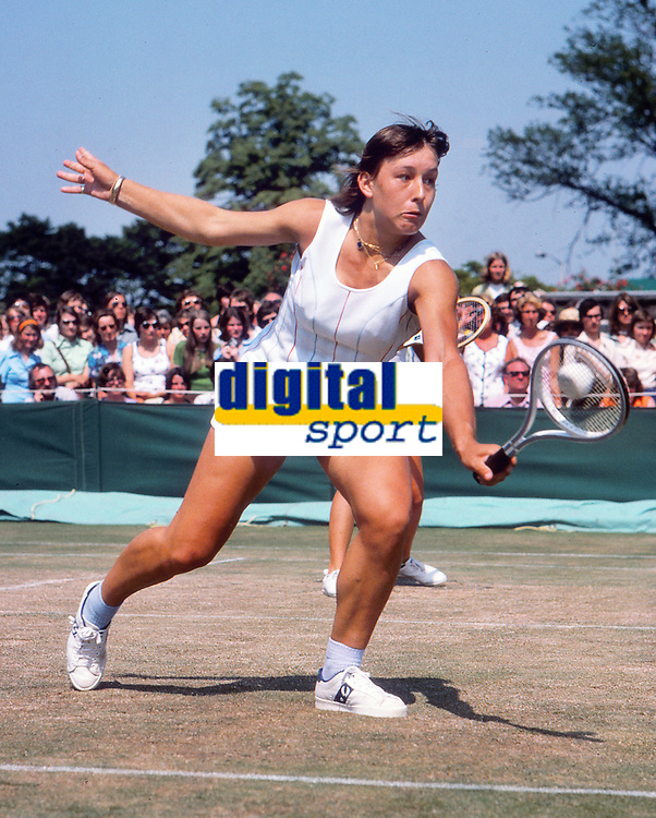 Tennis - 1975  Wimbledon Tennis Championships Womens doubles - Martina Navratilova and Chris Evert v Glynis Coles and Sue Barker<br /><br />Martina Navratilova<br />Originally from Czechoslovakia, she was stripped of her citizenship when, in 1975 at age 18, she asked the United States for political asylum and was granted temporary residency.  Navratilova was told by the Czechoslovak Sports Federation that she was becoming too Americanised, Navratilova became a US citizen in 1981, and on January 9, 2008, she reacquired Czech citizenship<br /><br />Credit Colorsport / Andrew Cowie