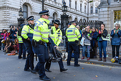 © Licensed to London News Pictures. 18/10/2019. LONDON, UK.  Police arrest a climate activist from Extinction Rebellion who was protesting outside Downing Street. Activists are calling on the government to take immediate action on the negative effects of climate change.  Photo credit: Stephen Chung/LNP