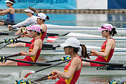 Plovdiv, Bulgaria, 10th May 2019, FISA, Rowing World Cup 1,  Start Area, CHN 2., LW2X, Bow, Xiaoyu and YUAN, and Jiawang<br /> ZOU, [© Peter SPURRIER, ]