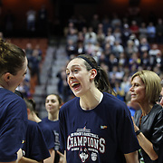 Breanna Stewart, (center), and  Katie Lou Samuelson share a joke before the trophy presentation during the UConn Huskies Vs USF Bulls 2016 American Athletic Conference Championships Final. Mohegan Sun Arena, Uncasville, Connecticut, USA. 7th March 2016. Photo Tim Clayton